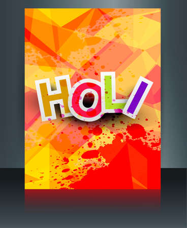 hindus: Beautiful indian festival brochure colorful texture holi card template vector background