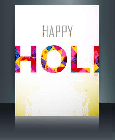 holi: Indian festival brochure card colorful holi template illustration background  Illustration