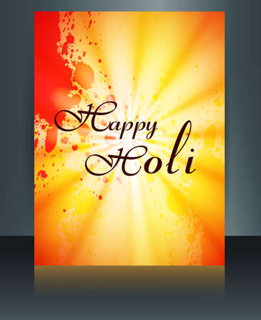 hindus: Beautiful grunge colorful template of holi brochure festival vector background Illustration