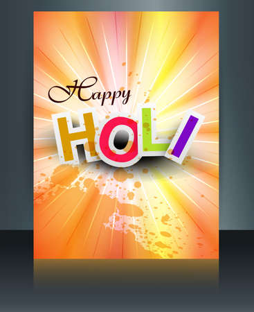 Beautiful background of indian festival colorful holi brochure card template vector illustration  Vector