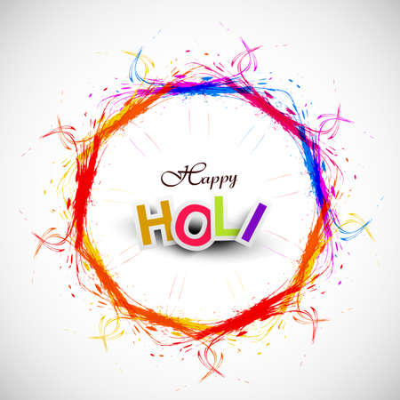 Beautiful grunge circle colorful Indian festival Happy Holi background  illustration Vector