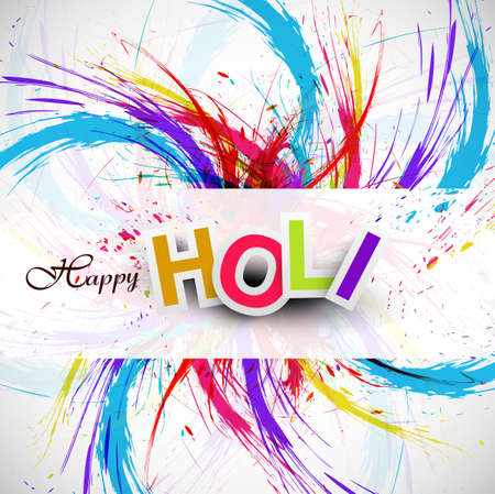 Gulal for holi festival background beautiful swirl grunge of colorful wave design Vector