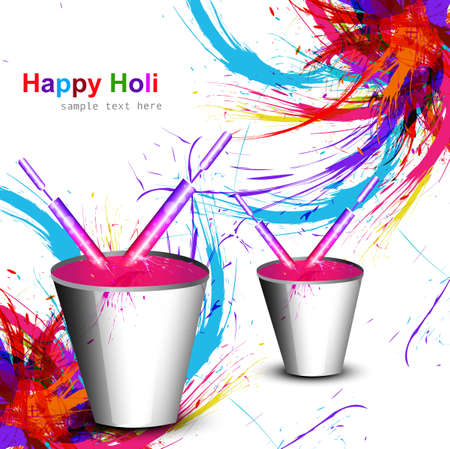 hindus: Holi colorful wave with bucket full of water colors and pichkari in background festival vector Illustration