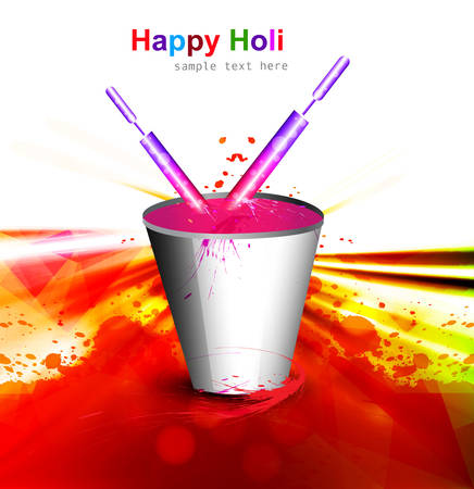 Holi colorful spalsh with bucket full of colors and pichkari in festival background vector Vector
