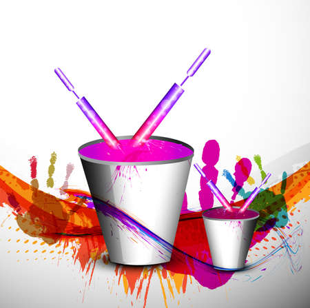 Beautiful spalsh with bucket full of colors and pichkari in festival holi background illustration Vector