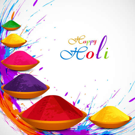 Beautiful gulal colorful background of holi festival grunge design illustration vector Vector