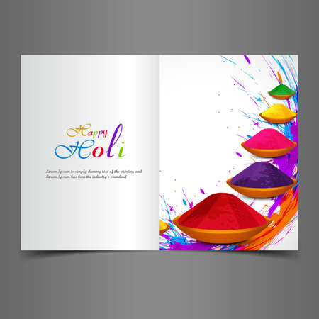 Holi beautiful presentation greeting card with colorful indian festival celebration background Vector