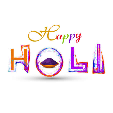 hindus: Holi colorful stylish text with grunge vector Illustratrion Illustration