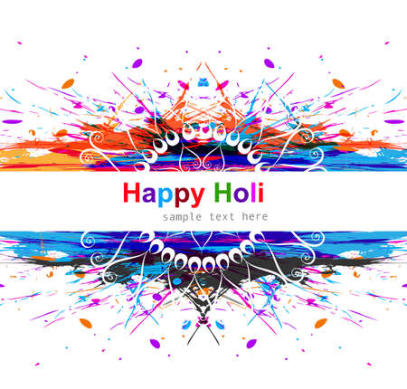 hindus: Vector colorful grunge indian holi beautiful celebration background