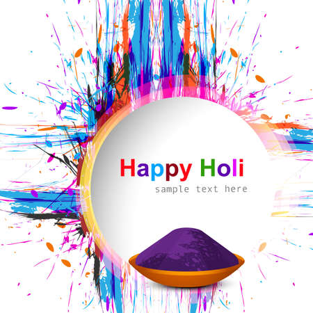 Holi festival colorful grunge with gulal design vector  Vector