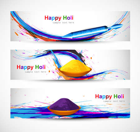 hindus: Header and banner set holi with colorful colours splash design