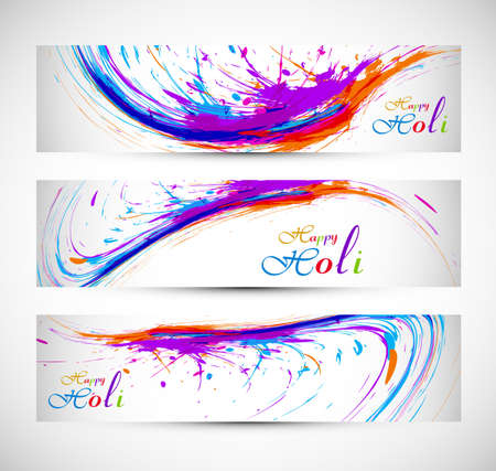 hindus: Beautiful holi with colorful banner and header set grunge vector