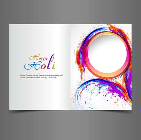 Beautiful greeting card presentation with colorful indian festival holi design vector Vector