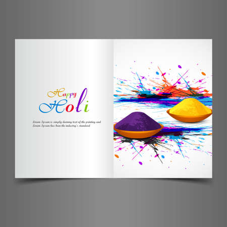 Greeting card colorful background of indian festival holi with celebration vector illustration Vector
