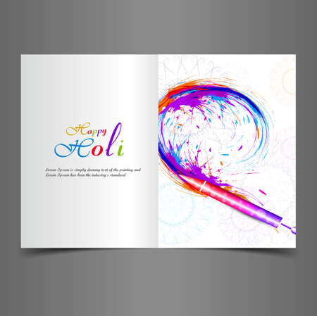 Beautiful greeting card with colorful indian festival holi text splash vector background  Vector