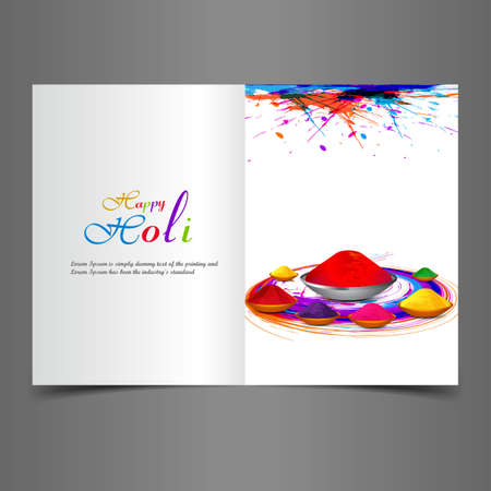 Beautiful background of indian festival holi greeting card with colorful text splash vector Vector