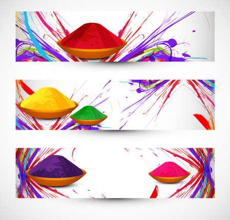 hindus: abstract gulal background colorful holi festival header and banner set design Illustration
