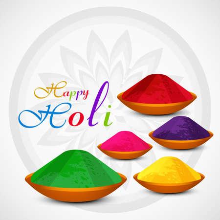 Gulal holi powder colorful celebration card illustration vector Vector