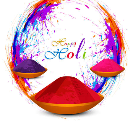 hindus: Beautiful Holi powder in colorful festival background vector