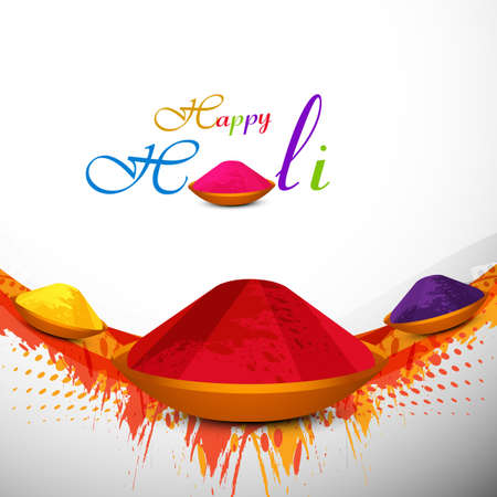 Holi festival colorful background with gulal card design vector  Vector