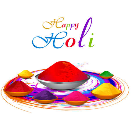 hindus: Beautiful gulal colorful holi with festival celebration vector background Illustration