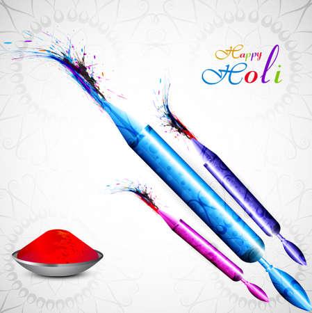 hindus: Beautiful Pichkari for holi colorful background celebration illustration vector Illustration