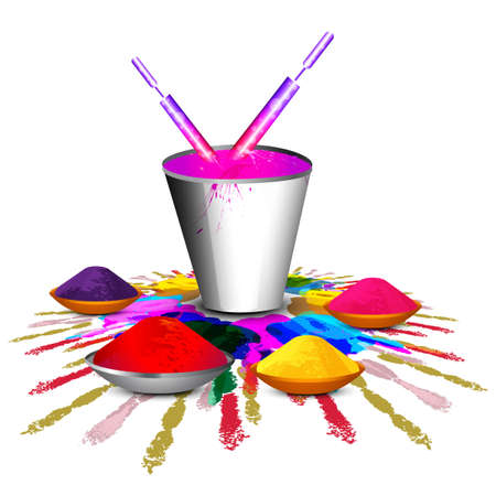 hindus: Beautiful holi with bucket full of colors and pichkari colorful gulal design vector