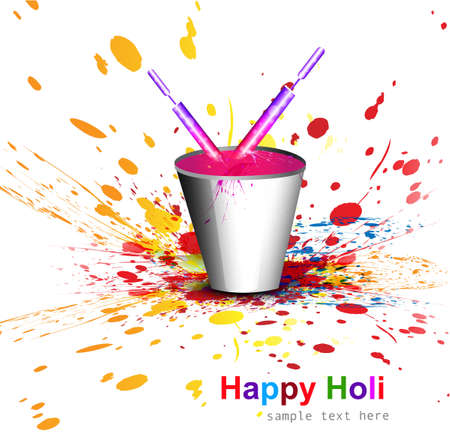Indian festival Holi with bucket full of colors and pichkari colorful background vector Vector