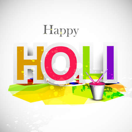 hindus: Beautiful Holi colorful text grunge celebration background festival vector design
