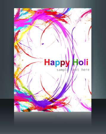 gulal: Holi grunge stylish wave colorful grunge brochure template background festival vector Illustration