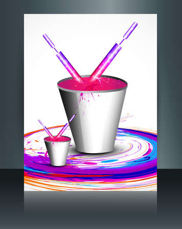 hindus: Beautiful bucket full of colors and pichkari in festival holi template vector brochure design