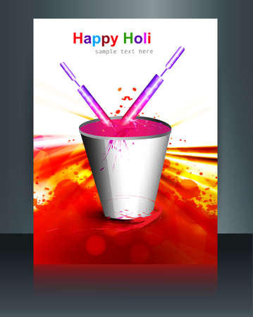 spalsh: Beautiful brochure spalsh with bucket full of colors and pichkari in festival holi template design