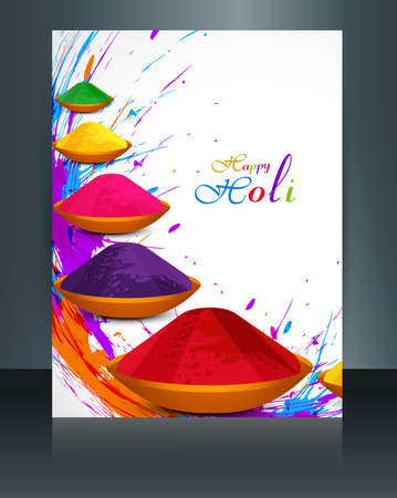 hindus: Beautiful spalsh with gulal festival holi brochure template background illustration