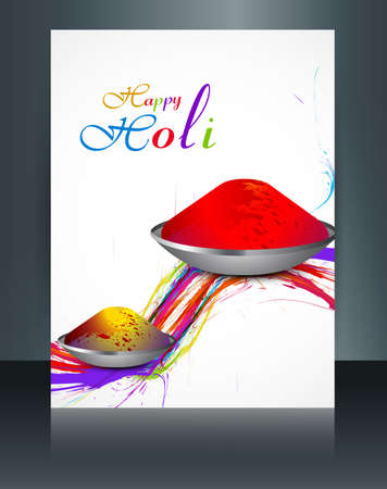 hindus: Vector beautiful brochure colorful indian festival Holi with gulal reflection template design Illustration