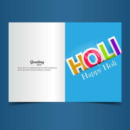 hindus: Beautiful indian festival holi greeting card with colorful stylish text vector Illustration