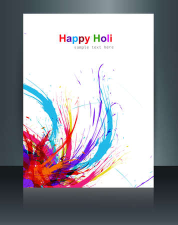 hindus: Beautiful brochure Holi on colours splash grunge wave with festival colorful template