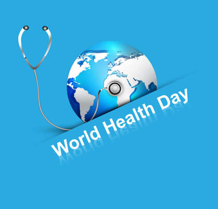 medicate: Beautiful World health day blue colorful shiny globe with creative concept vector background Illustration