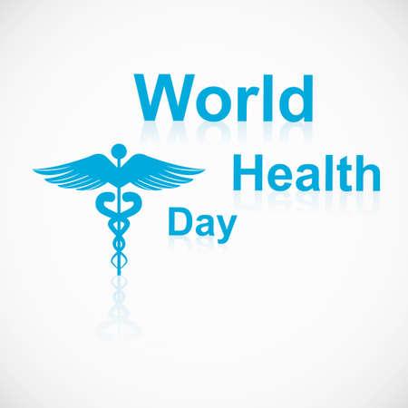Vector concept medical background on caduceus medical symbol reflection world health day Vector