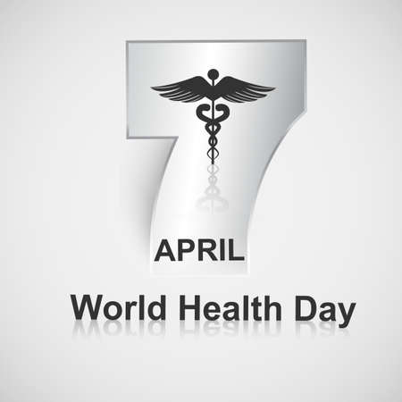 Beautiful text 7 April world health day caduceus medical symbol creative vector background illustration Vector