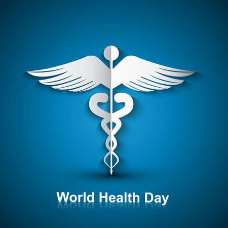scepter: Medical background with Caduceus medical symbol world health day vector design Illustration