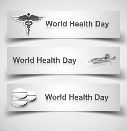 Beautiful world health day three header set medical symbol vector design Stock Vector - 27156190