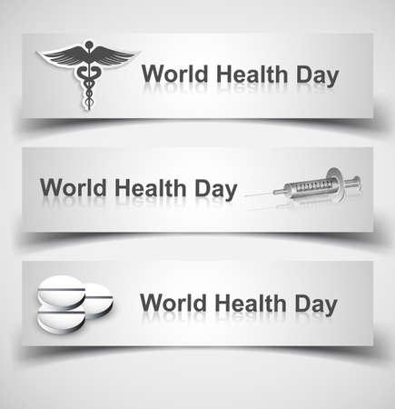 scepter: Beautiful world health day three header set medical symbol vector design Illustration