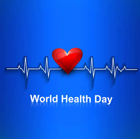 Beautiful Heart beats World health day concept with blue colorful background illustration Vector