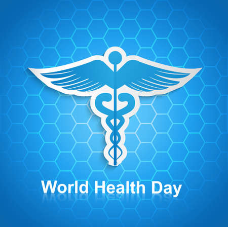 caduceus medical symbol: Caduceus medical symbol beautiful World health day design vector Illustration