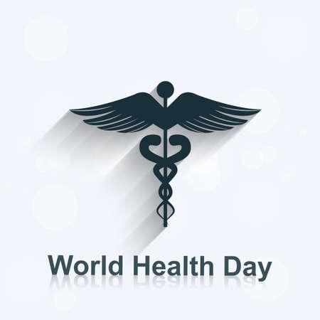 World health day concept medical background on caduceus medical symbol illustration vector Vector
