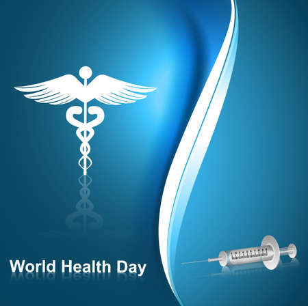 medical symbol caduceus reflection world health day blue colorful background vector Stock Vector - 27157207