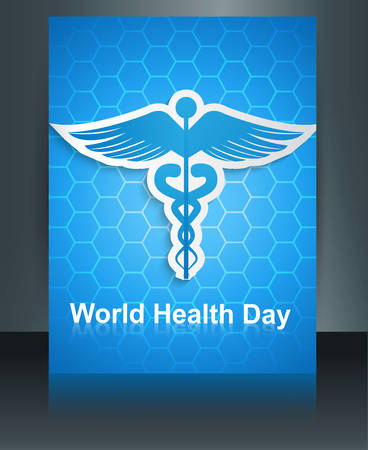 Caduceus medical symbol brochure colorful template World health day reflection design vector Vector