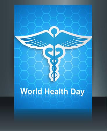 Caduceus medical symbol brochure colorful template World health day reflection design vector Stock Vector - 27157213