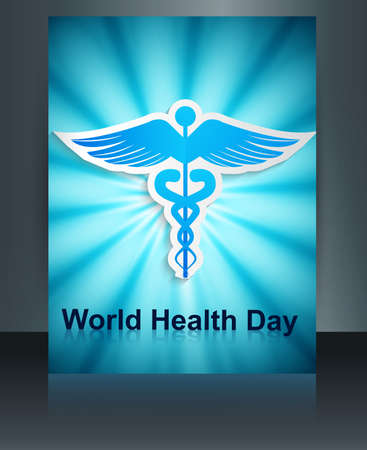 Beautiful Brochure World health day caduceus medical symbol template reflection colorful vector  Vector