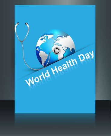 Beautiful World health day blue colorful shiny globe brochure with template reflection vector design Vector